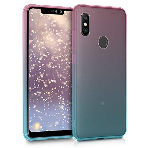 kwmobile Funda Compatible con Xiaomi Redmi Note 6 Pro - Carcasa de TPU y Bicolor en Rosa Fucsia/Azul/Transparente