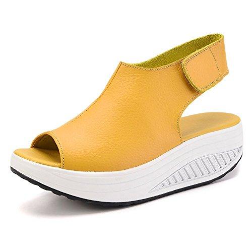 Bdawin Mujer Cuero Confort Peep Toe Cuña Sandalias Plataforma Tacón Zapatos para Caminar