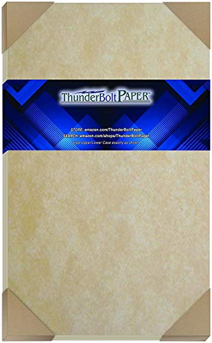 50 Old Age Parchment 65lb Cover Paper Sheets Cardstock Weight Colored Sheets 8.5X14 Inches Legal and Menu Size - Printable Parchment Semblance