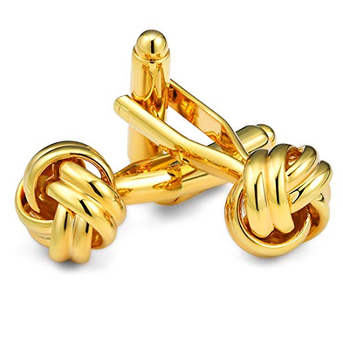 Cat Eye Jewels Men Cufflinks Gold Twist Knot for Luxurious Tuxedo Formal Shirts Kit Wedding Business Gift for Mens Groom