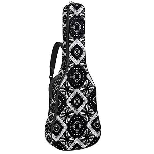 Paquete de guitarra acústica para principiantes, tamaño completo, con tapa de abeto, para guitarra acústica, color negro, geometría, 108,9 x 42,8 x 11,9 cm