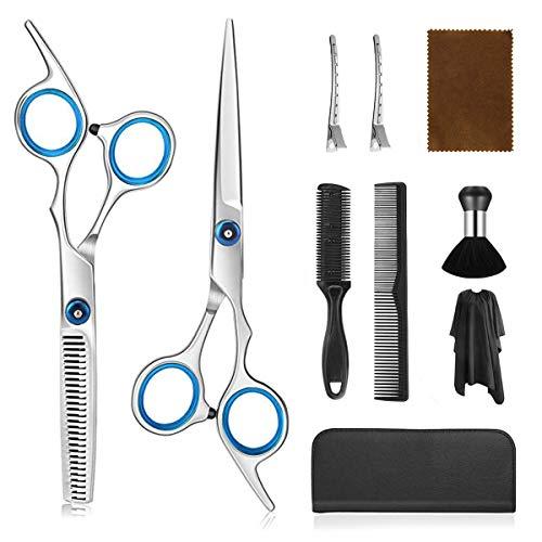 Camfosy Haarschere Set, Professional Frisur Schere Set, Premium Scharfe Friseurschere, Mikroverzahnung aus Edelstahl zum Ausdünnen und Strukturieren Perfekter Modellierenfrisur-Set für Damen Herren