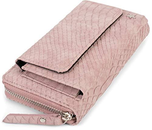 styleBREAKER Damen Portemonnaie in Krokodil Optik mit Handyfach, Reißverschluss, Geldbörse 02040129, Farbe:Altrose