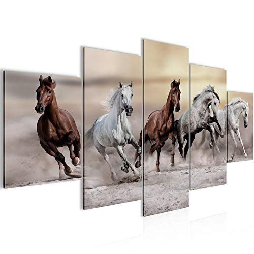 Tabla de pared decoración Caballos - 150 x 75 cm XXL lienzo Salón Apartamento - listo para colgar - 014,153th