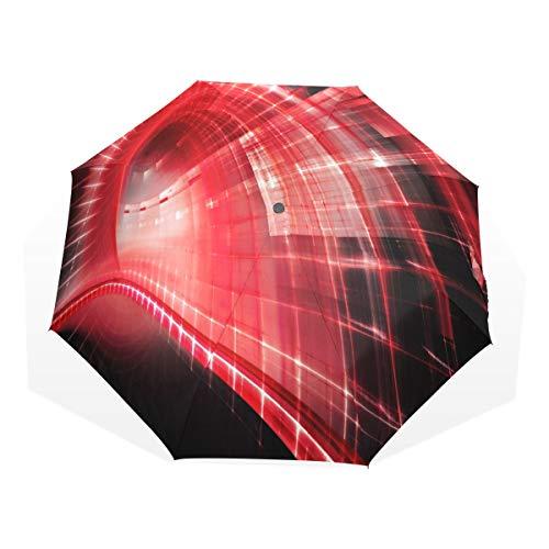 LASINSU Mini Ombrello Portatile Pieghevoli Ombrello,Red Techno,Antivento Leggero Ombrello per Donna
