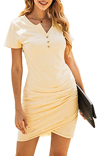 BTFBM Women's 2021 Casual V Neck Short Sleeve Ruched Bodycon T Shirt Short Mini Dresses with Faux Button (Yellow, Medium)