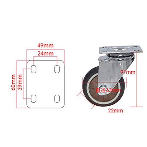 Bokrollen, 1 inch / 1,25 inch / 1,5 inch / 2 inch / 2,5 inch / 3 inch X1 mini universeel wiel met rem TPR Soft Directional Wheel Silent Wear (kleur: B, maat: 1,25 inch)