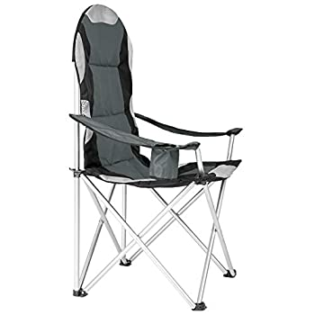 TecTake Chaise de Camping Fauteuil Pliable avec Porte-Boisson et Sac de Transport - Rembourrage en Mousse -diverses Couleurs et Tailles au Choix- (Gris (4 pièces)) Ø Cadre: Environ 19 mm