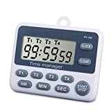TuoPuLife 4 Channels Digital Kitchen Timer, Cooking Timer, Large Display, Strong Magnet Back, Loud Alarm, 12/24-Hour Display Clock, Count-Up & Count Down for Cooking Baking Sports Games Office