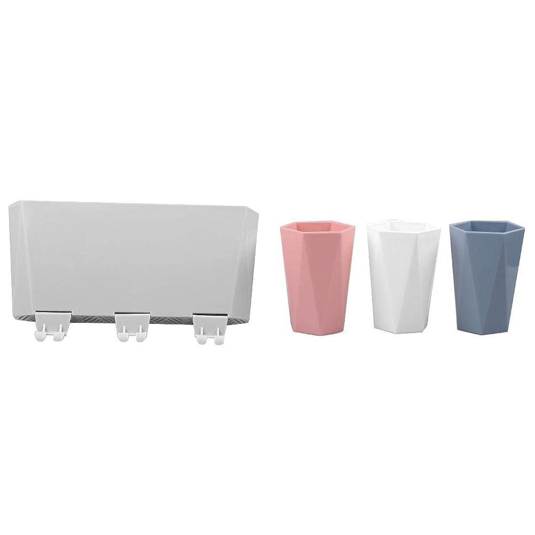 損傷極めて栄光の歯ブラシラック浴室壁掛け歯ブラシホルダー壁掛けブラシカップ棚無料パンチングカップセット(青)青と白の粉