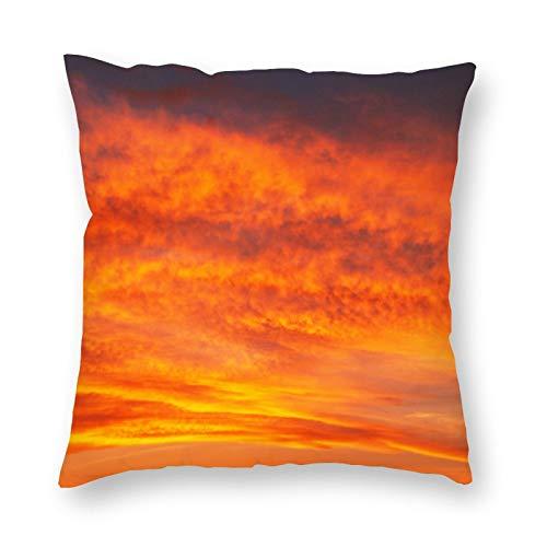 happygoluck1y Fundas de cojín de papel pintado de nubes naranjas de 18 x 18 /45 cm x 45 cm, funda de almohada para sofá, adolescentes, niñas, idea de regalo