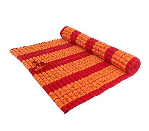 Collumino - Materasso da meditazione tradizionale tailandese Kapok XXL arrotolabile per yoga, massaggio o relax (arancione, rosso)