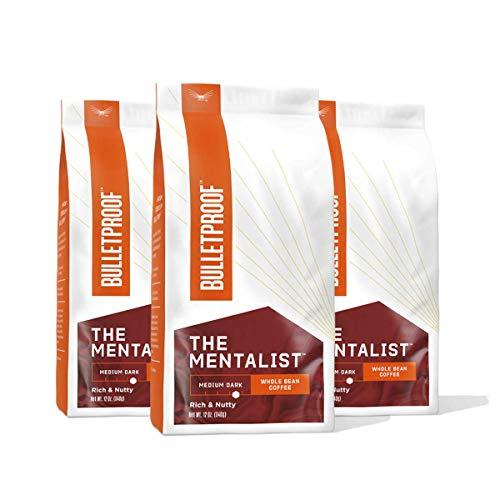 The Mentalist Whole Bean Coffee, Medium Roast, 3 Pack - 12 Oz, Bulletproof Keto 100% Arabica Coffee, Certified Clean Coffee, Rainforest Alliance, Sourced from Guatemala, Colombia & El Salvador