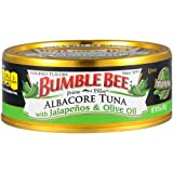 BUMBLE BEE Prime Fillet Solid White Albacore Tuna with Jalapeño & Olive Oil, 5 Ounce Can (Case of 12), Wild Caught Tuna, Canned Tuna, High Protein, Keto Food, Keto Snack, Gluten Free, Paleo Food