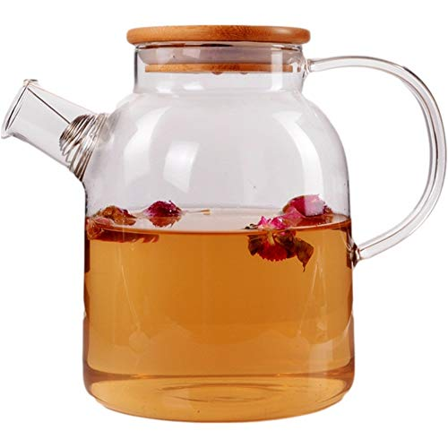 Jarra para bebidas jarra de agua de vidrio transparente para zumo de bebidas Botella de agua fría jarra de té jarra de jugo de leche (color transparente, tamaño: 1600 ml)