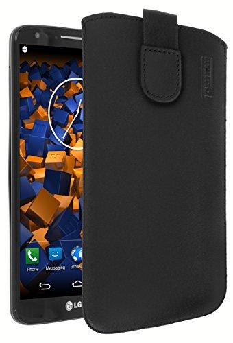 mumbi Echt Ledertasche kompatibel mit LG G2 Hülle Leder Tasche Case Wallet, schwarz