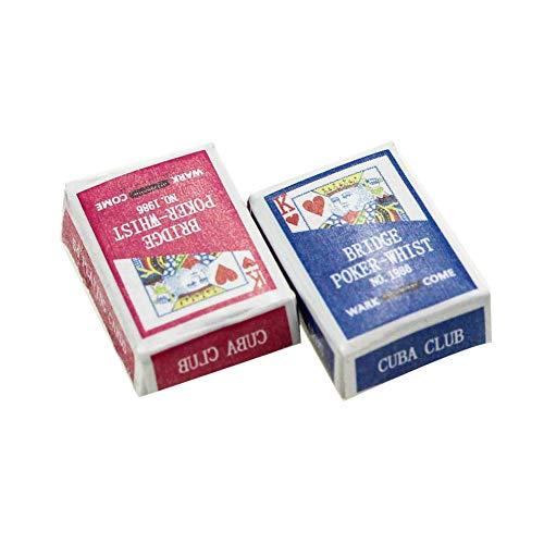 bulingbuling Mini Naipes Juegos De Papel Poker Naipes 1/12 Miniatura De Muñecas De Juguete Decoración del Dollhouse Accesorios Casa De Muñeca De Juguete De Color Al Azar