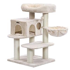 FEANDREA Árbol para Gatos, con Plataforma de Observación XXL, Tumbona de la Cesta y Cueva Grande, Postes Gruesos Envueltos en Sisal