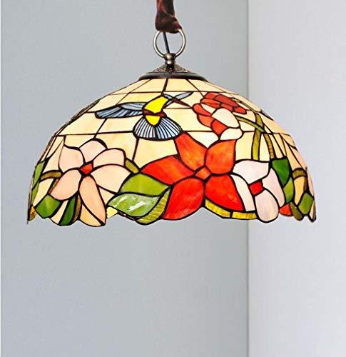 Hanglamp tiffany stijl plafond hanglamp semi inbouw glas in lood kolibrie kap retro kroonluchter 3-5 licht voor eetkamer woonkamer slaapkamer,A20inches
