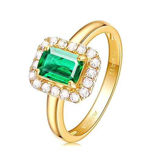 Beydodo Ringe für Damen 750 Gold Halo mit Rechteck Smaragd 1.1ct Partner Ringe Diamant Gold Eheringe Gr. 60 (19.1)