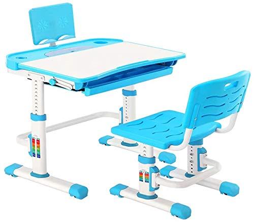 Natsen Kinderschreibtisch mit Stuhl, höhenverstellbares Schreibtisch-Set für Kinder, neigbarer Schreibtisch mit Schublade, Schreibtisch-Set für Jungen und Mädchen (Blau)