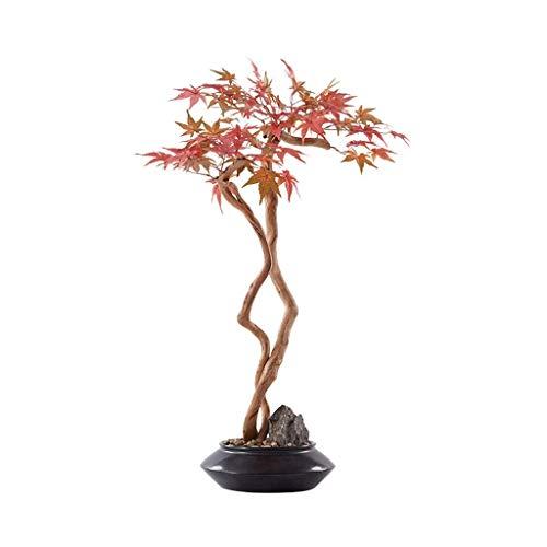 HYRGLIZI Künstliche Pflanzen Gefälschter Bonsai-Baum Neuer chinesischer künstlicher Baum Hotel Villa Künstliche Bonsai-Ornamente, weiche Dekorationen Simulation Rotblatt Ahorn Bonsai Veranda Korridor