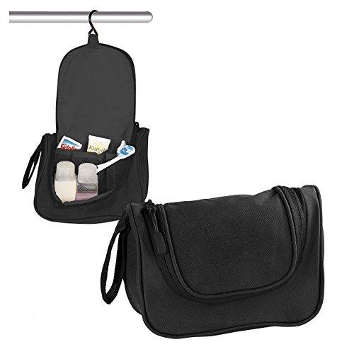 PEARL Kulturtasche: Kulturbeutel mit Haken zum Aufhängen, 3 Innenfächer, 2 Liter Volumen (Toilettentasche)