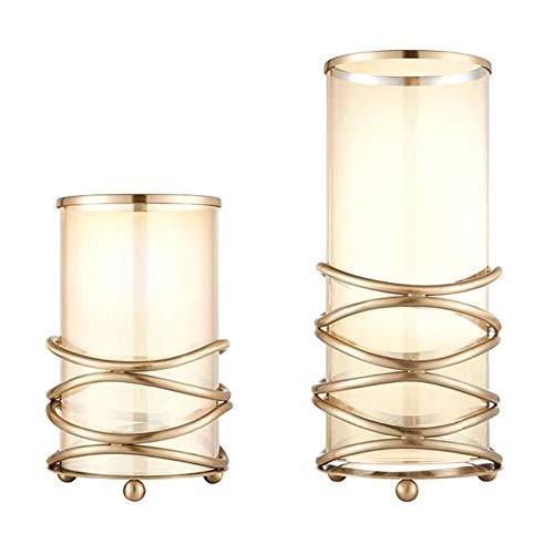 Liuxiaomiao-Home Kerzenhalter 2 Stücke Modell Zimmer Einfache Moderne Hochzeit Kerzenhalter Dekoration Veranda Wohnaccessoires Metall Handwerk Möbel (Color : Gold, Size : Free Size)