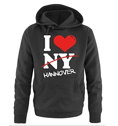 Comedy Shirts I Love Hannover - NOT NY - Herren Hoodie in Schwarz Gr. XL