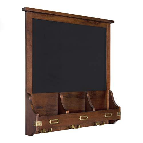 Kate and Laurel Stallard Decorative Rustic Wood Home Organizer with Chalkboard, Pockets, and Key Hooks, Dark Walnut Brown