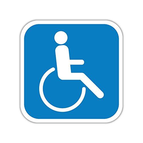 Aufkleber 10cm Hinweis - Rollstuhlfahrer Rollstuhl Aufkleber abgerundet (1)