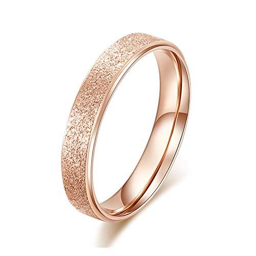 Timbre de timbre Anillo de las señoras de acero inoxidable helada simple de la moda de 2 mm de ancho de color rosa de color dorado de oro regalo anillo ( Main Stone Color : 0000024 , Ring Size : 8 )