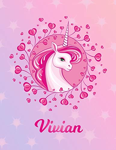 Vivian: Unicorn Sheet Music Note Manuscript Notebook Paper – Magical Horse Personalized Letter V Initial Custom First Name Cover – Musician Composer … Notepad Notation Guide – Compose Write Songs
