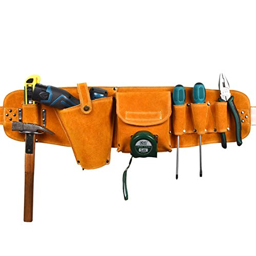 Topways Multi Leathercraft Pocket Tool Bag with Adjustable Belt, Deluxe Cordless Poly Drill Holster,Electrician's Pouch with Pockets for Tool, Flashlight, Keys