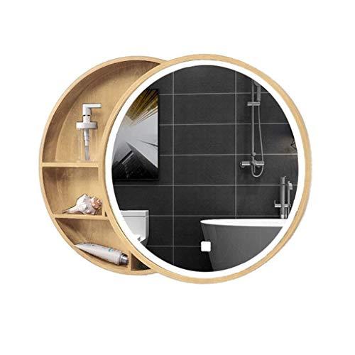 MJK Espejo de pared, gabinetes con espejo Baño corredizo con luz Madera maciza Almacenamiento inteligente antivaho Tocador de baño Colgante de pared Espejo redondo Montado en la pared,Amarillo,50 cm