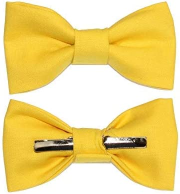 Toddler Boy 4T 5T Citrus Yellow/Bright Yellow Clip On Cotton Bow Tie Bowtie