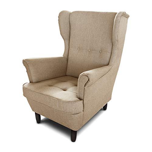 Ohrensessel Sessel King - Lounge Sessel mit Armlehnen - Retro Stuhl aus Stoff mit Holz Füßen - Polsterstuhl für Esszimmer & Wohnzimmer (Beige (Inari 26), ohne Hocker)