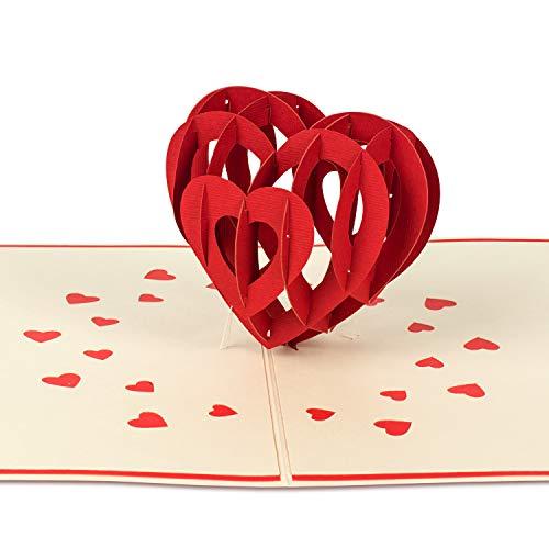 """PaperCrush® Pop-Up Karte Liebe """"3D Herz"""" - Besondere Geburtstagskarte für Frauen und Männer, Glückwunschkarte mit Herz - Romantische Liebeskarte zum Hochzeitstag oder Jahrestag (Ich Liebe Dich Karte)"""