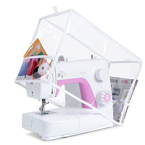 Addicted DEPO Sewing Machine Clear Vinyl Cover with 2 Lateral Pockets - Protective Visible PVC Dust Cover Pro - Universal for Most Standard Singer & Brother Machines - | Rodi's (Clear)