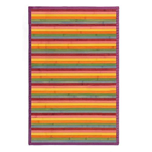 Alfombra de Salón o Comedor, de Rayas Multicolor, de Bambú Natural 60 X 90cm Natur, 60x90 - Hogar y Más