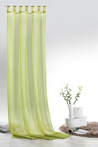 Fashion&Joy Typ418 Rideau en Voile uni avec œillets ou Rideau à Passants 9 Couleurs Transparent, Tissu, Pistache, Schlaufenschal HxB 245x140 cm