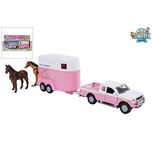 Van Manen Kids Globe Traffic Set mit Spielzeugauto und Pferdeanhänger, Spielzeug, rosa/weiß, für Mädchen, Rückzugsmotor, 520124