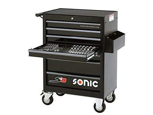 Sonic Werkstattwagen S8 gefüllt, 285- teilig,Schaum, schwarz