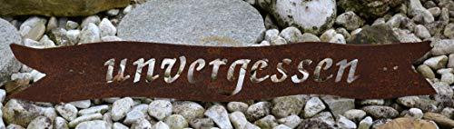 Maison en France Grabschmuck Unvergessen -Grabdekoration zum Legen oder Hängen in Metall mit Edelrost -frostsicher