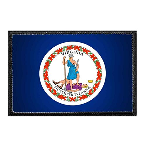 Virginia State Flag - Color | Hook and Loop Attach for Hats, Jeans, Vest, Coat | 2x3 in | by Pull Patch -  P PULLPATCH, PP-P-32-1374