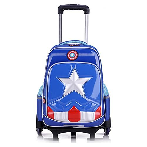 MYYLY Zaino A 6 Ruote per Ragazzi Valigie Capitan America Trolley con Impermeabile Tirante Mano Unisex Adulti Bambini da Picnic All'aperto,Blue-6 Wheel(41X49X25CM)