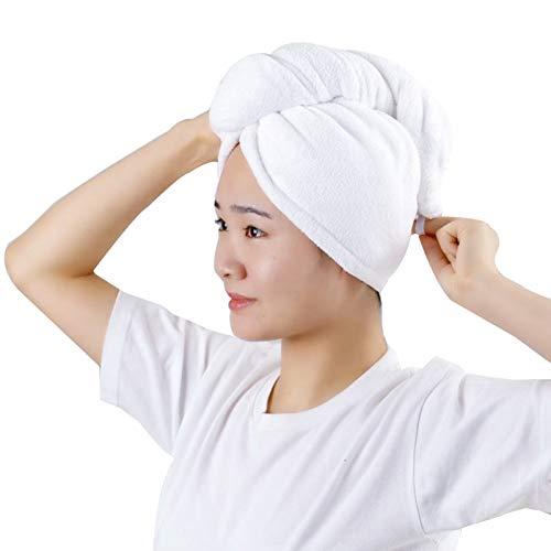 WFF Sombrero Mujeres Pelo Turbante Envoltura Tapa de Secado con Botones Mujeres Suave Espesa Ducha Ducha Secado Toallas toques para niñas Gorro de puntogorra (Color : 2 Pieces)