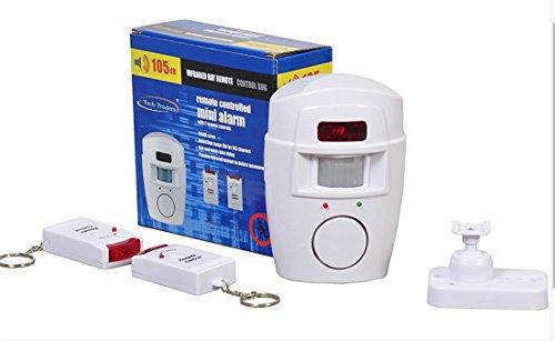 Tech Traders - Alarma con Sensor de Movimiento PIR sin Cables, Incluye 2 mandos a Distancia, Ideal para el hogar, el Garaje o la Caravana, Blanco