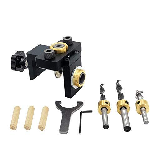 Juego de sistema de plantilla de orificios de bolsillo, localizador de perforación 3 en 1, herramienta de carpintería con clavijas, kit de plantilla de orificios de aluminio, posicionador de bolsillo