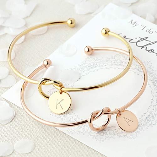 CXWK Nombre de Moda joyería Femenina Pulseras con dijes de Letras de aleación Inicial para Mujeres niñas Pulseras con Nudo de Lazo de Oro Rosa brazaletes